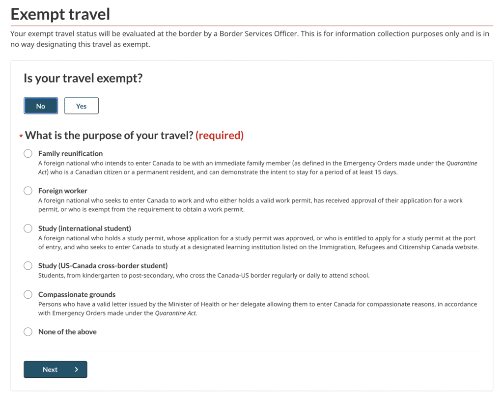 ArriveCan Travel Exempt